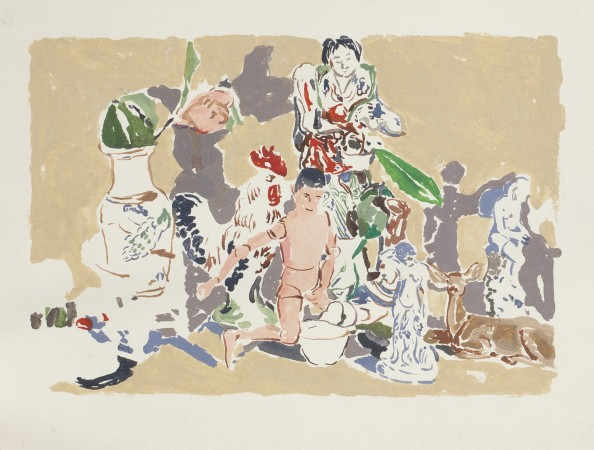 Untitled (Manikin Man with Figurines), 1974-75, gouache on paper, 11 x 15 inches