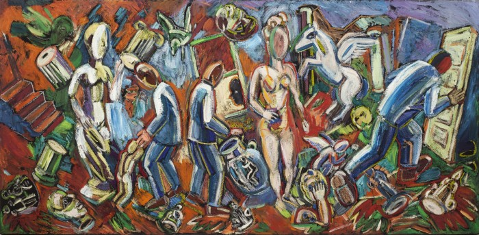 Studio View: Three Blue Suits and Nude, 1986, oil on canvas, 27 x 56.5 x 2 inches