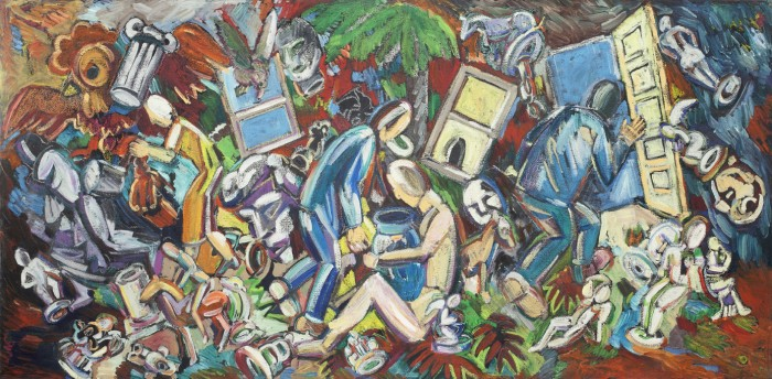 Studio View: Seated Woman, Vase on Lap, 1986, oil on canvas, 27 x 56.5 x 2 inches