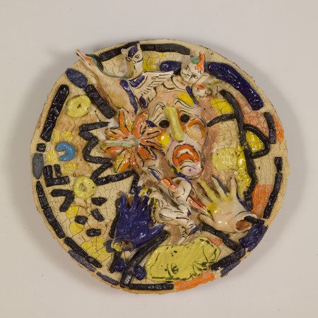 Mask of Tragedy Series #1, 1998, ceramic, 24 inches diameter