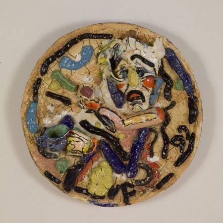 Mask of Tragedy Series #3, 1998, ceramic, 24 inches diameter
