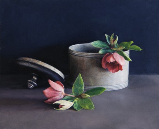 Pewter Pot and Flowers, 2009, oil on board, 4 x 5 inches