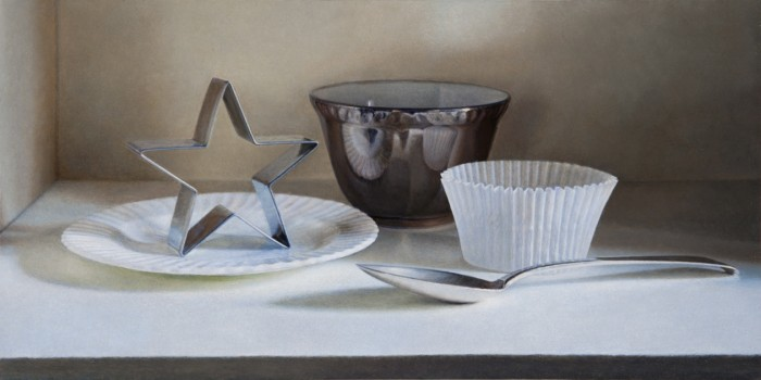 Still Life with Cookie Cutter, 2008, oil on board, 3 x 6.5 inches
