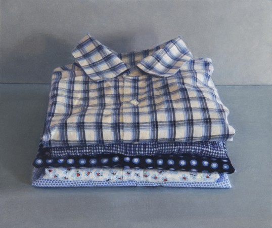 Five Shirts, 2013, oil on board, 3 x 4 inches