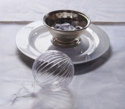 Glass Ball and Silver Bowl, 2013, oil on board, 4.5 x 5 inches