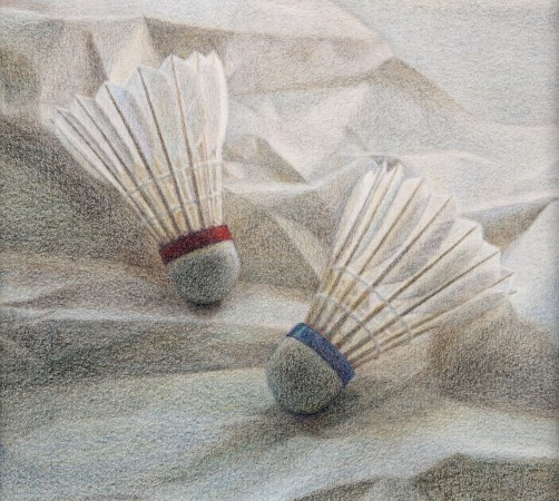 Two Shuttlecocks, 2013, colored pencil on paper, 4.5 x 4.5 inches