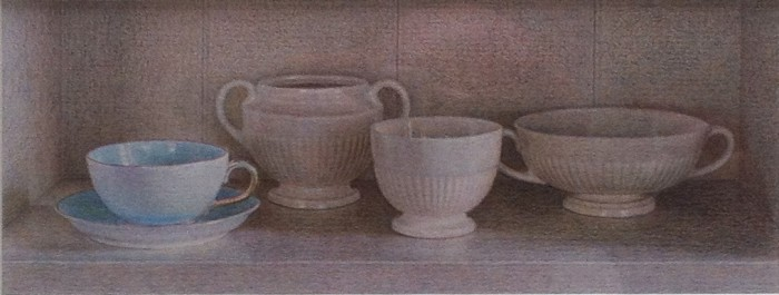 Wedgwood China and Turquoise Cup, 2012, colored pencil on paper, 2 x 7 inches