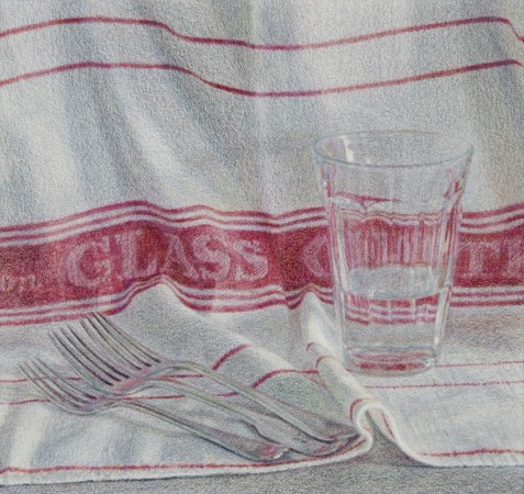 Glass Cloth, 2011, colored pencil on paper, 4 x 4.5 inches