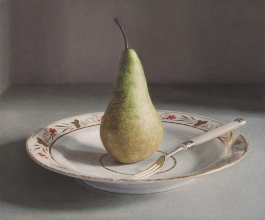 Pear and Fork, 2011, oil on board, 4.5 x 5.5 inches