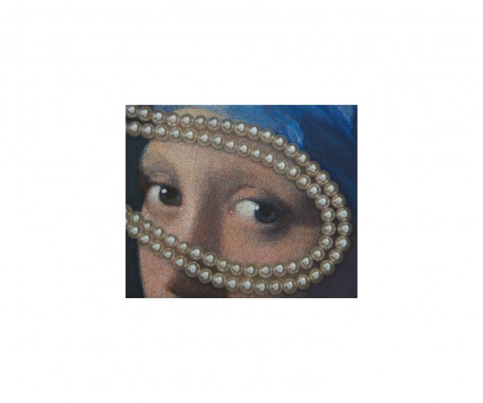 Vermeer Eyes with Pearls, 2012, oil on board, 2.5 x 3 inches
