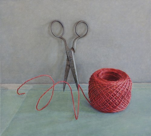 Scissors and Red String, 2012, oil on board, 4 x 4 inches