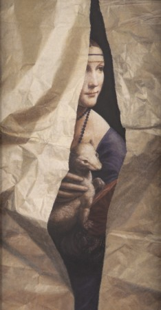 Leonardo Lady with Torn Paper, 2010, oil on board, 5 x 3 inches