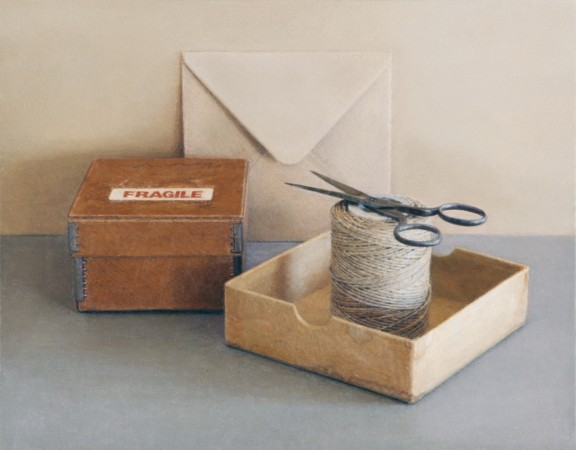 Fragile Box with Scissors, 2009, oil on board, 3 x 4 inches