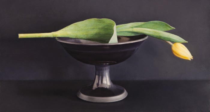 Yellow Tulip, Black Bowl, 2010, oil on board, 4 x 7 inches
