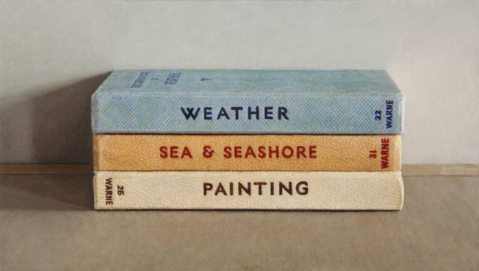 Three Observer's Books, 2014, oil on board, 3 x 5 inches