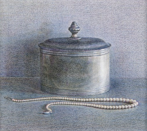 Pewter Pot and Pearls, 2014, colored pencil on paper, 4.5 x 5 inches