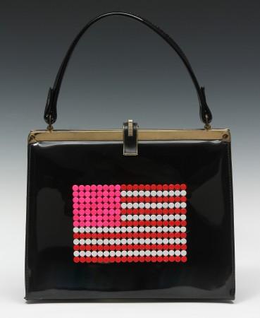 United We Stand (Purse) #3, 2013, vintage purse, birth control pills, enamel and plexi, 13 x 9 x 2 inches