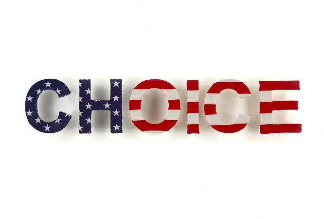 Freedom of Choice, 2014, wood, cotton, (American flag), 11 x 60 inches