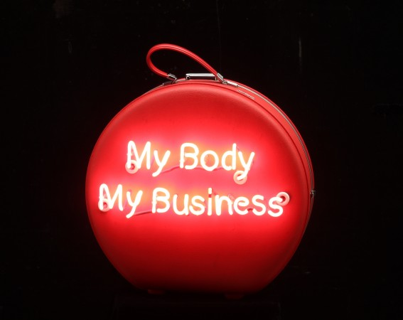 My Body My Business (American Tourister), 2014, Neon on Vintage Case, 24 x 20 x 11 inches