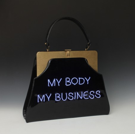Pred-a-Porter: My Body My Business #1, 2015, Electroluminescent wire on Vintage purse, 17 x 13 x 3 inches