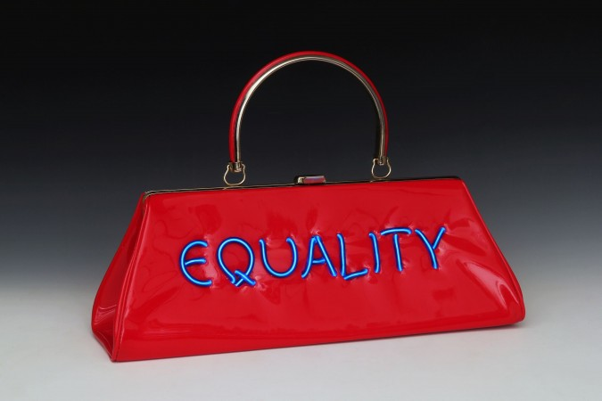 Pred-a-Porter: Equality , 2015, Electroluminescent wire on Vintage purse, 10 x 15 x 4 inches