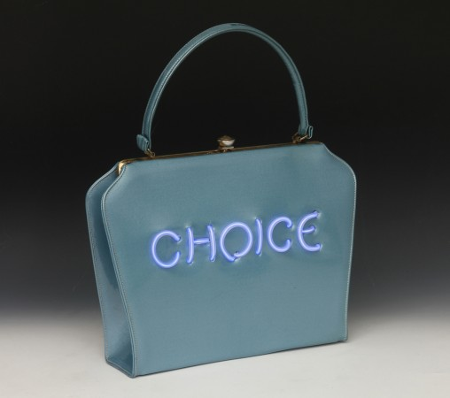Pred-a-Porter: Pro Choice #18, 2014, Electroluminescent wire on Vintage purse, 14 x 12 x 3 inches