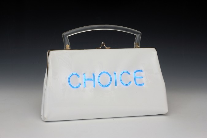 Pred-a-Porter: Pro Choice #19, 2014, Electroluminescent wire on Vintage purse, 7.5 x 10 x 2 inches