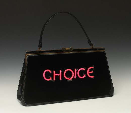 Pred-a-Porter: Pro Choice #35, 2014, Electroluminescent wire on Vintage purse, 12 x 14 x 3.5 inches