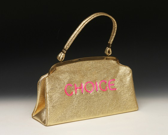 Pred-a-Porter: Pro Choice #38, 2015, Electroluminescent wire on Vintage purse, 12 x 11.5 x 4 inches