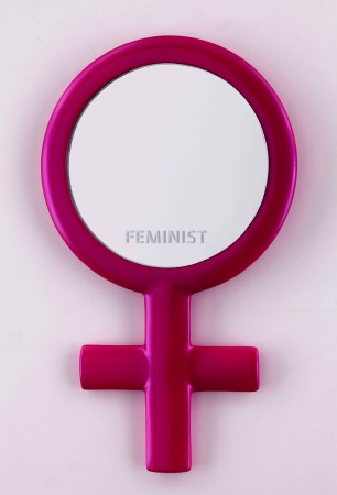 Reflections (Feminist), 2015, Resin, mirrored glass and enamel, 11 x 7 x 0.5 inches