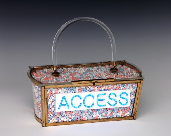 Access, 2015, Expired Birth Control pills, Vintage lucite purse, Electroluminescent Wire, enamel, plexi, 9 x 9 x 5 inches