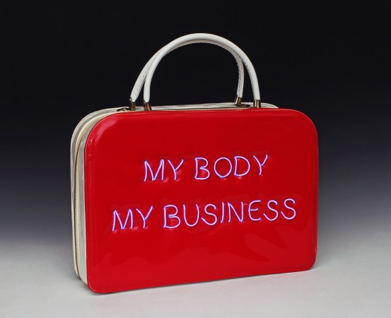Pred-a-Porter: My Body My Business #2, 2014, Electroluminescent wire on Vintage purse, 14 x 13.5 x 3 inches