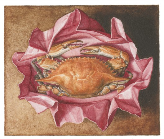Gregory Halili, Red Crab, 2010, watercolor on paper, 7 x 9 inches