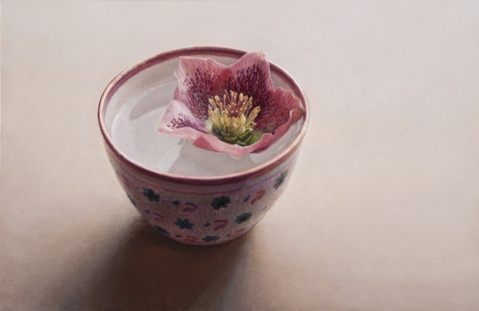 Lucy Mackenzie, Flower in a Lustre cup, 2008, oil on board, 3 x 4 inches