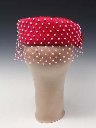 Michele Pred, Pill Box Hat, 2013, Vintage Hat, Expired Birth Control pills and Varnish, 14 x 8 x 8 inches