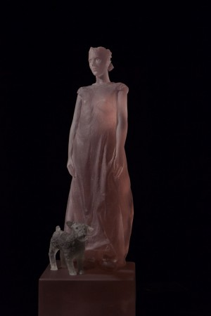 Nicolas Africano, Pink Girl with Dog, 2014, cast glass, 20 x 7 x 7 inches