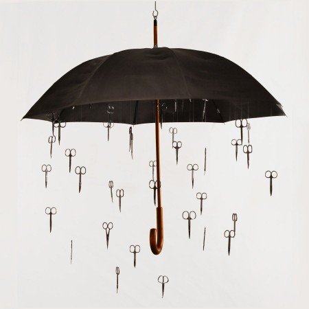Michele Pred, Travelers, 2011, umbrella, scissors, 42 x 36 x 36 inches