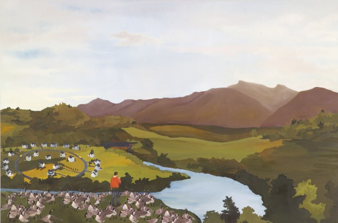 Purdy Eaton, River in the Catskills, 2010, oil and collage on canvas/panel, 36 x 54 inches