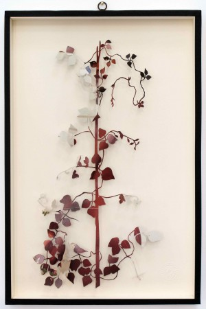 Paolo Giardi, You can learn a lot of things from the flowers - Plant XXIII, 2011, cut out magazine centerfold and insect pins on somerset paper, 24 x 16 inches