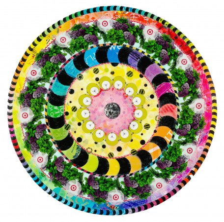 Virginia Fleck, Mystery Mandala, 2010, plastic bags, acid free tape, 58 x 58 inches