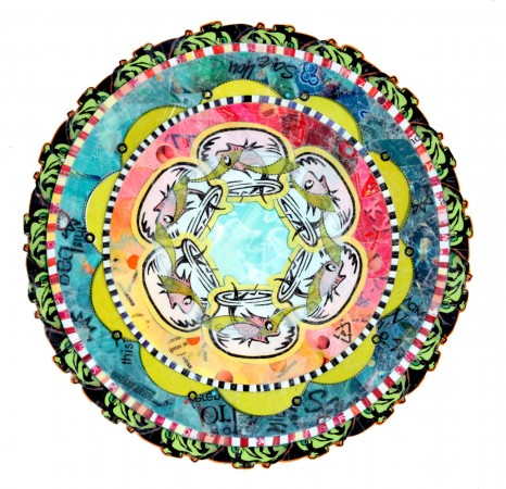 Virginia Fleck, Uh-Oh Fish Mandala, 2013, plastic bags, acid free tape, matboard, 17 x 17 inches