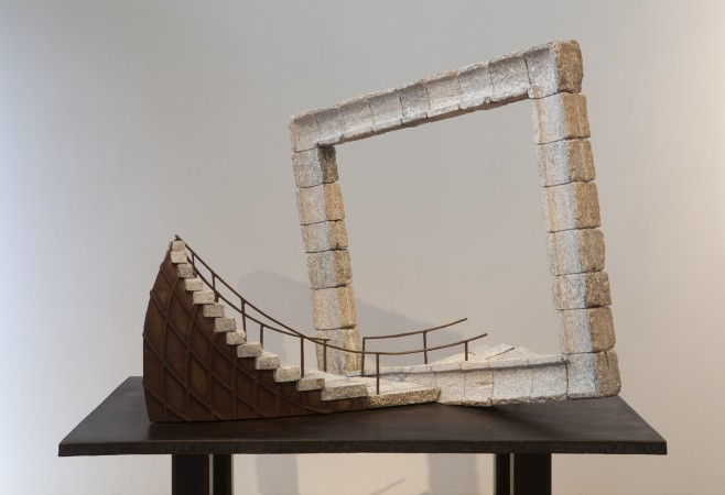 Theater of the Wind, 2013 steel, stone (steel base) 41 x 47 x 40 inches