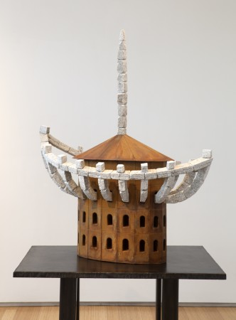 The House in the Boat and the Boat in the House, 2014 steel, stone 50 x 49 x 26 inches