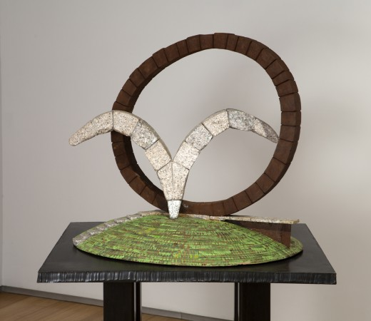Wings of Stone and Rings of Steel, 2008 stone, steel, wood 28 x 32 x 28 inches