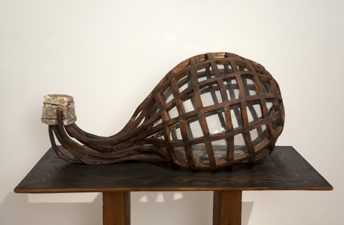 Air, 1996 wood, stone, glass 20 x 43 x 24 inches