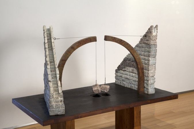 Divided World, 2000 stone, steel, glass 31 x 60 x 33 inches