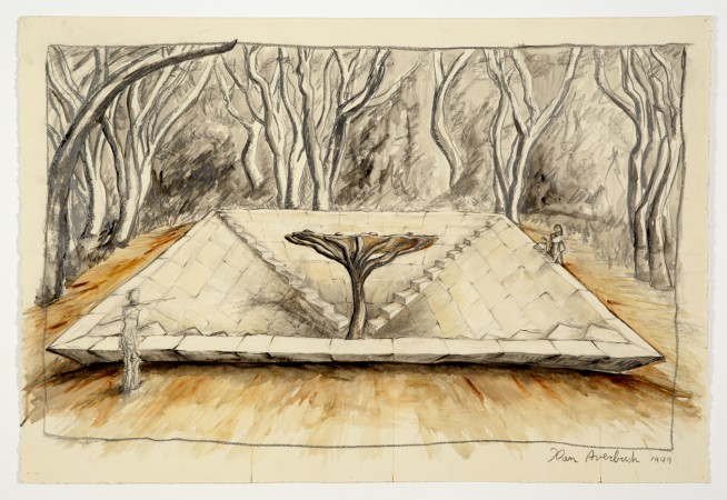Memorial (tree in inverted pyramid) 1999 mixed media on paper 30 x 44 inches