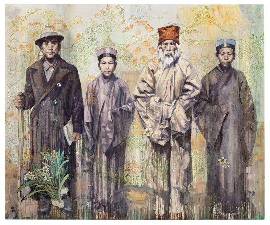 Grandfather Liu and His Qianshan Friends, 2013 oil on canvas 80 x 96 inches