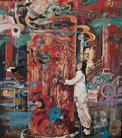 Hung Liu, Imperial Column V, 2012 mixed media 93 x 82 inches