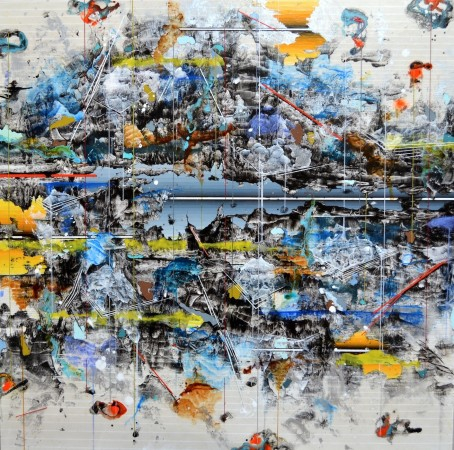 Linda Mieko Allen, Parallax VIII, 2012 mixed media on aluminum panel 24 x 24 inches